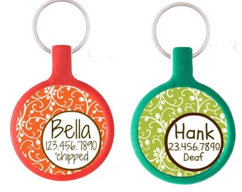 Garden Party Custom Personalized Dog ID Pet Tag Custom Pet Tag You Choose Tag Size & Colors- Orange or Green