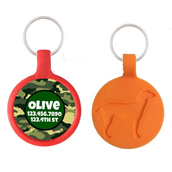 Camouflage Personalized Dog ID Pet Tag Custom Pet Tag You Choose Tag Size & Colors