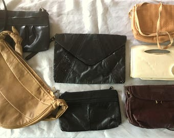 Vintage 7 Piece PURSE Lot / AS IS 1980s Costume Theatre Purses And Handbags