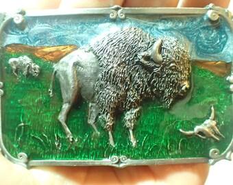 Vintage Siskiyou Buffalo Bison Enamel Belt Buckle 1984 U-29