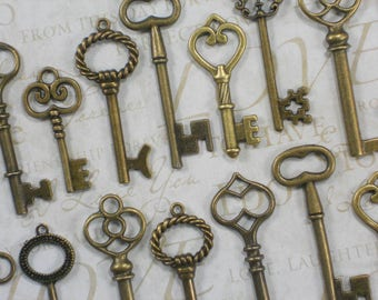 10 Bronze Ultimate Keys Collection M to L Vintage Style Replica (K37)
