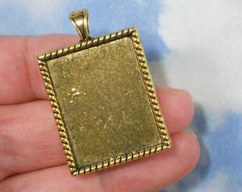 3 Golden Rectangle Bezel Settings Blank Charms Pendants Gold Tone Rope Edge - Epoxy, Klay or Mosaic Fill  (P2004)
