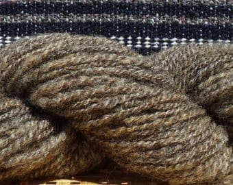 Hand Spun Wool Yarn 92 yards No dyes Natural Grey Brown