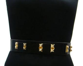 Womens Black and Gold Belt Black and Gold Stretch Belt Womens Black Studded Belt Black and Gold Belt Womens