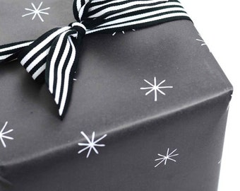 Black Gift Wrap Sheets, Star Wrapping Paper, Night Sky Gift Wrap, Modern Wrapping Sheets