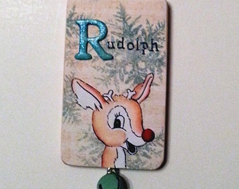 Rudolph Christmas Ornament Red Nosed Reindeer Mixed Media Art Collage Ornie