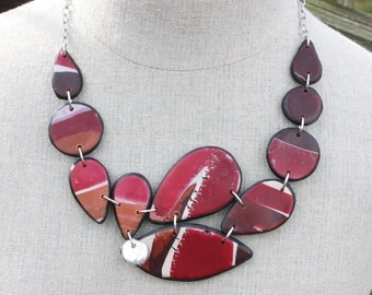 Abstract Design Polymer clay handmade one of a kind necklace, bib necklace, chunky statement piece