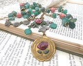 green necklace assemblage color of the year american beauty rose garden upcycled vintage jewelry