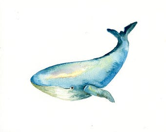 WHALE Original watercolor painting 10X8inch