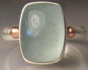 Aquamarine Ring, Aquamarine Cabochon Ring, 14k Rose Gold and Sterling Silver