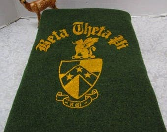 Vintage Wool Fraternity Blanket, Beta Theta Pi, 1green Gold, Crest Classic Warmth,