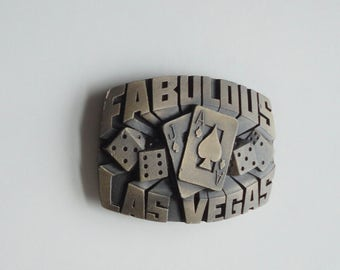 1980  Solid Brass  Fabulous Las Vegas Belt Buckle. Indiana Metal Craft.