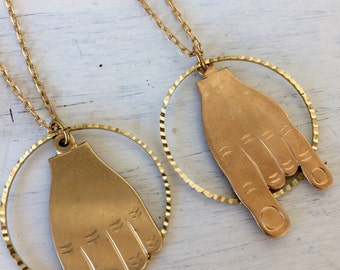 Brass hand gesture necklaces- rock on or F-off