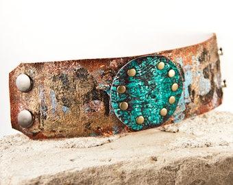 Turquoise Jewelry - Wide Cuff Wristband - Bohemian Bracelet Rainwheel