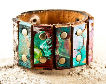 Turquoise Leather Jewelry Cuff Bracelet