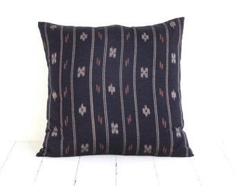 Indonesian Ikat, Pillow, Cushion, Cotton, Handwoven, 16x16, Black