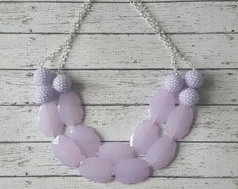 Lilac Lavender Rhinestone Chunky Statement Bib Necklace...Purchase 3 or more get 10% off