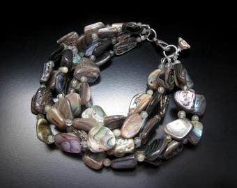 Abalone Multi Strand Bracelet, Abalone Gray Nugget Shell Beads, Shell Bracelet, Abalone Jewelry, Abalone Prehnite Bracelet, Multistrand