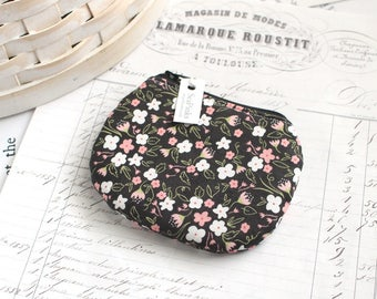 Small Pink and Black Coin Purse Black Floral Change Purse Cute Zippy Pouch