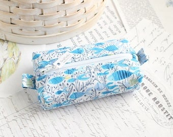 Blue and White Fish Small Boxy Pouch Underwater Coin Purse Aqua Blue Change Purse Credit Card Holder