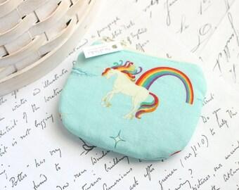Little Rainbow Unicorn Coin Purse Small Zipper Pouch Unicorn Change Purse