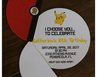 25 Build a Bear  Pokemon invitations I choose you by Palm Beach Polkadots