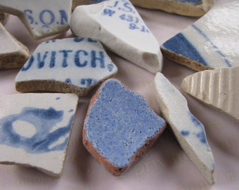 Chunky Beach Pottery Blue Sea Pottery Ceramic Genuine Beach Blue Sea glass Mosaic Craft Supply Real Natural Blue China Shards Cobalt