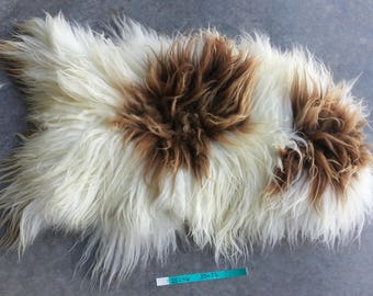 Icelandic Sheepskin- Natural Brown and White Spotted and SUPER Long Wooled Sheep Hide Lot No. 25246TURQ