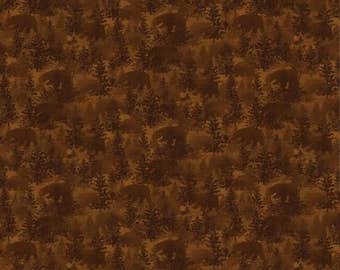 NEW Bear Paws Craft 100% Cotton Quilt Fabric One Yard Cut of Brown Bear Forest Tonal
