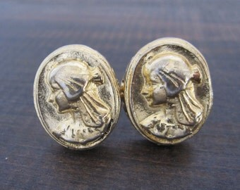 Vintage Figural Woman Cameo Cufflinks, Gold Tone Lady Profile Bust Cuff Links