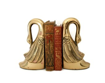 Vintage Brass Swan Bookends, Mid Century Modern Brass Library Decor