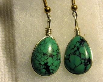 Genuine Natural Turquoise , Earrings 03