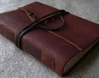 """Handmade leather journal, 5.5""""x 7.5"""",  rustic brown journal, old world journal, vintage style diary, leather sketchbook,  (2529)"""