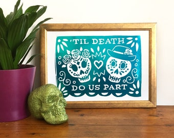 Day of the Dead Sugar Skull A4 Foil Print - Dia Le Los Muertos Art, Mexican Inspired Print, Metallic Foil Print, Wedding Art, Halloween Art,