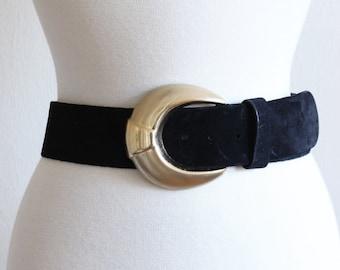 Vintage Anne Klein for Calderon Black Suede Belt
