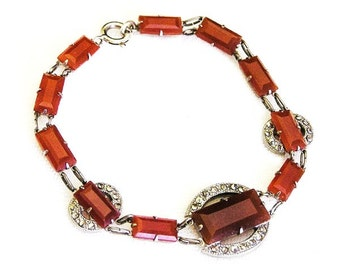 Carnelian Glass and Marcasite Art Deco Bracelet c.1920s