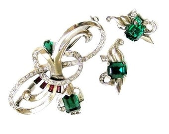 Mazer Sterling Emerald and Ruby Glass Brooch with Clip Earrings