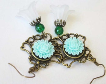 Victorian Wedding Earrings, White Flower Earrings, Spring Wedding Jewelry, Antiqued Bronze Filigree Chandelier