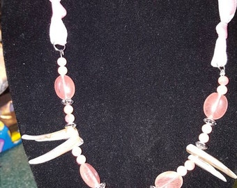 Jagged shell and glass bead necklace on wire and ribbon (pink)