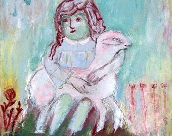 Art Print download, digital Print, Printable download, digital 300 DPI JPG turquoise pink, sheep girl, instant download Spanish Art