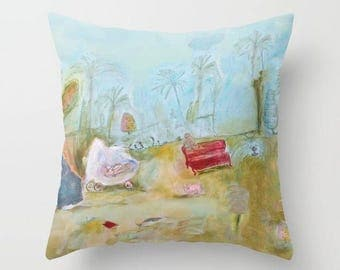 Art pillow cover, pillow case, decorative throw pillow, spun poplin, turquoise cushion case, dog monkey