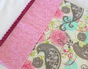 Toddler Pillowcase with Crochet Edge Pink Gray Aqua White