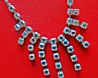 "Vintage art deco style 18"" silver tone necklace with sparkly aurora borealis coated rhinestones in great condition, appears unworn"