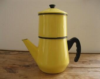 Vintage Enamel Yellow/Black Coffee Pot, Bakelite handles, 1950's