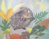 Hedgehog Art Vintage Animal Art Print 70s Nursery Decor Nursery Wall Art Nursery Art Print