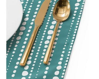 Modern Dot Placemat // Table Linens // Dining Room // Bestrewn Lagoon Design // Teal // Table Decoration // Minimalist Decor // Polka Dots