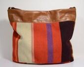 Nana handmade stripes and leather hobo bag