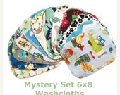 Spring Sale - Sale - Mystery Set - 6x8 Sweet Bobbins Cloth Wipes Starter Set of 12 wipes -  Double Layer Flannel  - 6x8