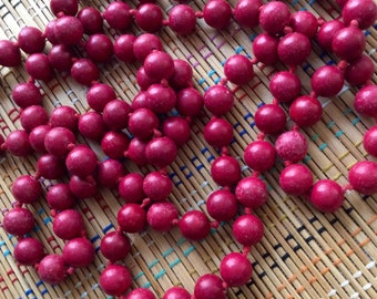 Vintage Strand Knotted Cherry Red Clay Beads--Gorgeous Color
