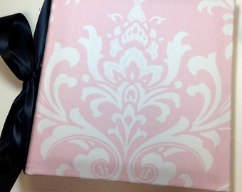 Recipe Organizer-Pink and White Damask Recipe Album with Your choice of  Trim and Recipe cards